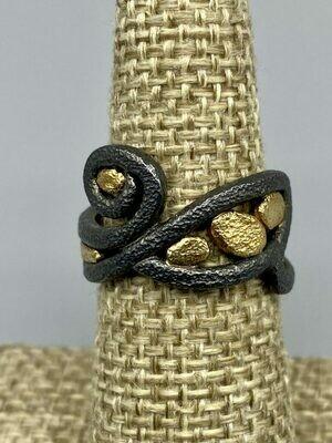Size 7 Swirl Ring 18k & Sterling Silver, Rona Fisher Philadelphia PA