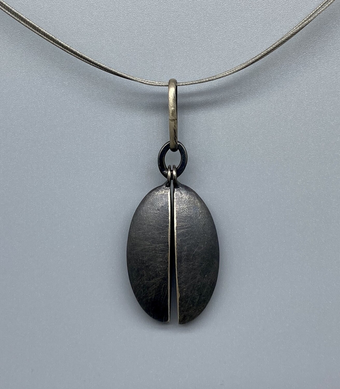 Brushed Oxidized Sterling Silver Leaf Charms Necklace