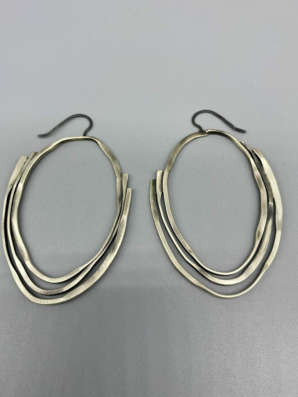 Brushed Sterling Silver Hoops