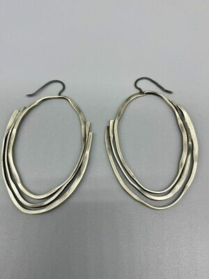 Brushed Sterling Silver Hoops