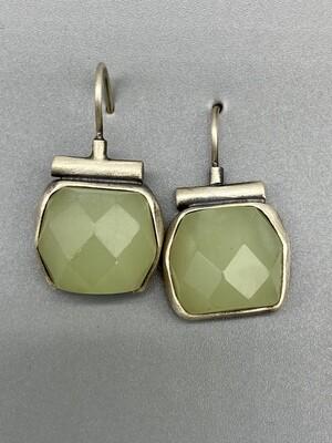 Faceted Jade Hinge Wire Earrings