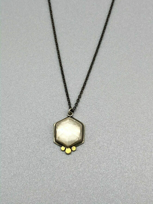 Rose Cut Hexagonal White Topaz Necklace