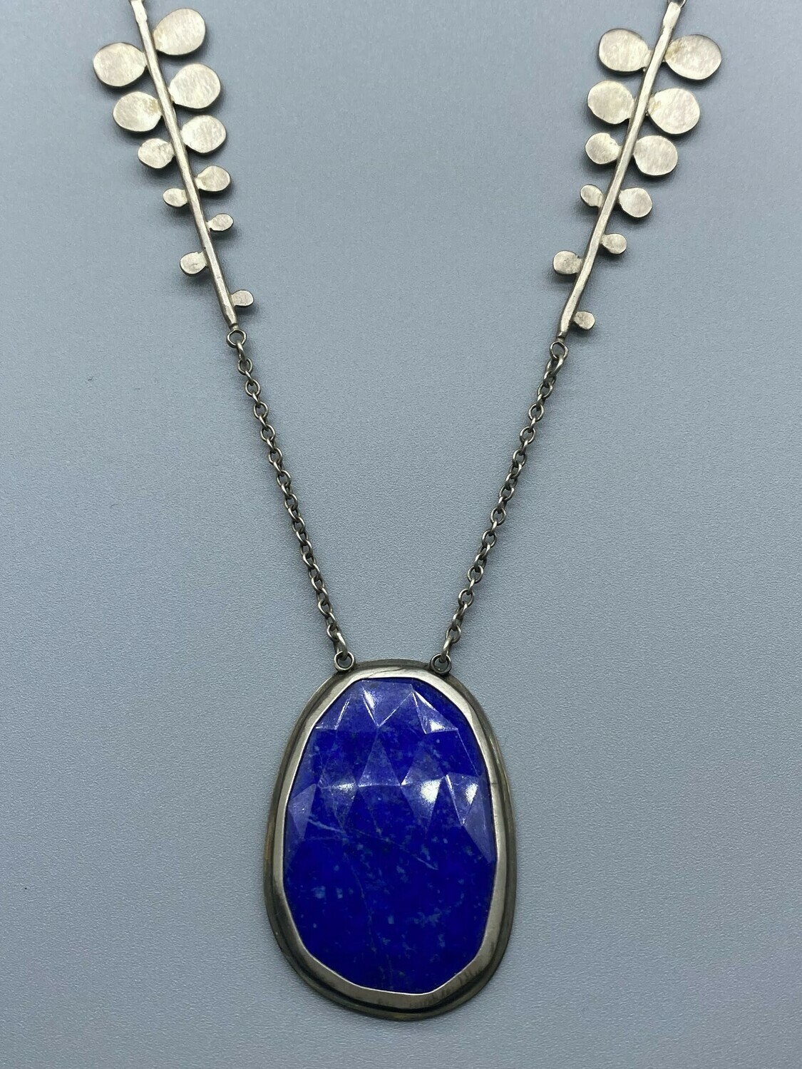 Rose Cut Lapis Filigree Sterling Silver Necklace 20