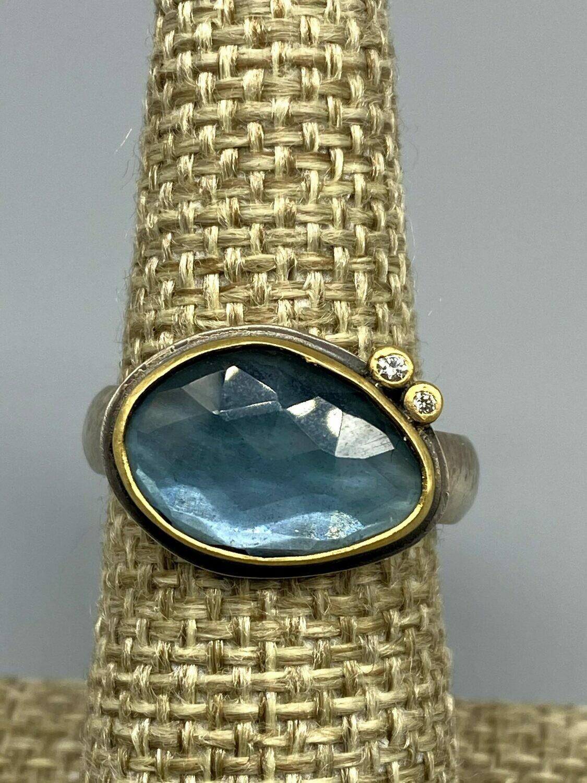 London Blue Topaz Ring 22k Bezel, Diamond Accents and Sterling Silver Band - Ananda Khalsa, Northampton MA