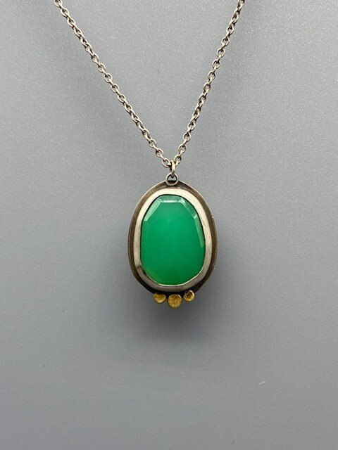 Rose Cut Chrysoprase Necklace w/ 22k Dots and Sterling Silver Bezel and Chain - Ananda Khalsa - Northampton MA