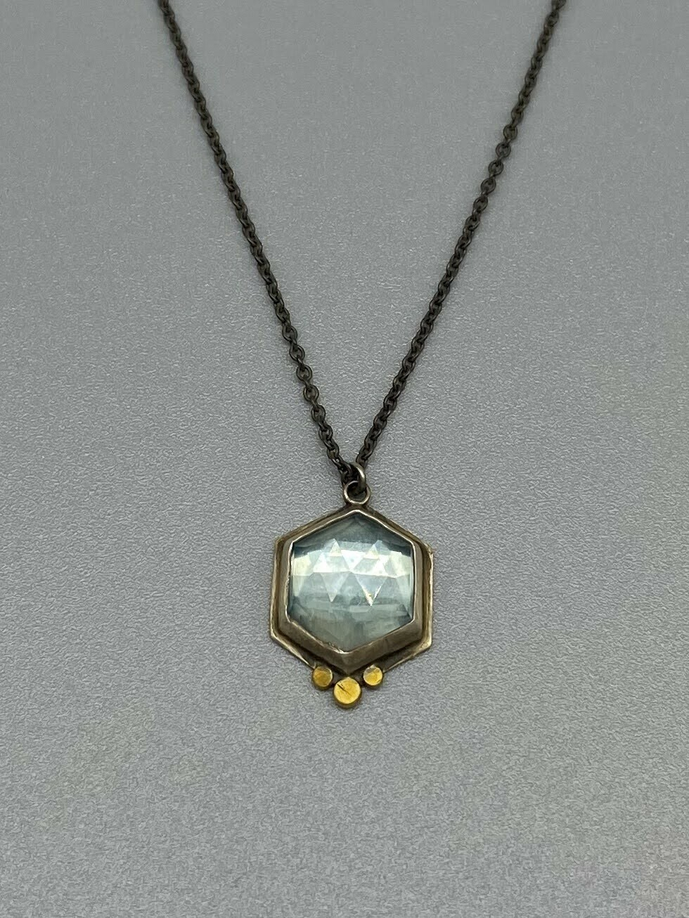 Rose Cut Hexagon Blue Topaz Necklace