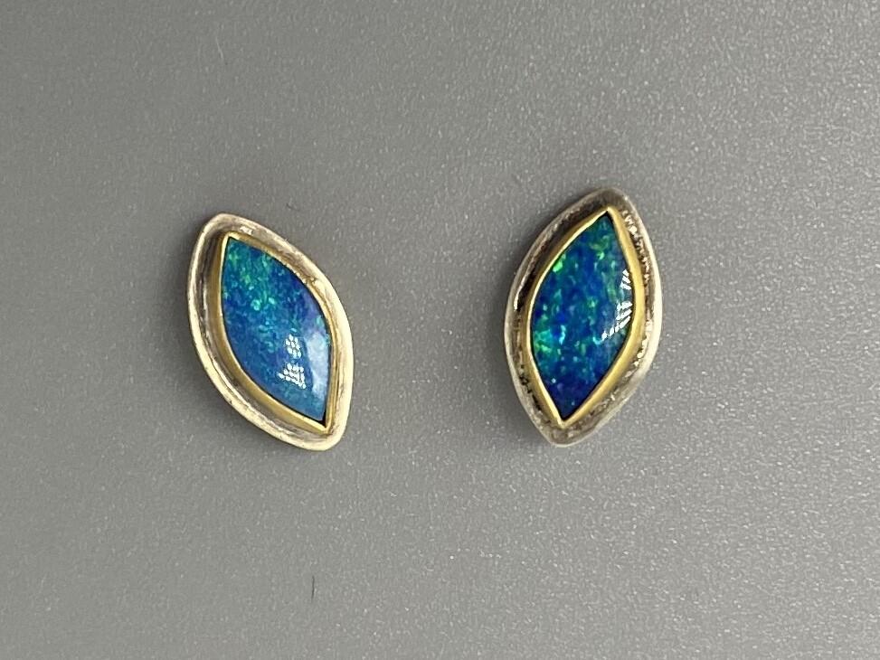Marquis Australian Opal Stud Ear 22k  - Ananda Khalsa - Florence MA