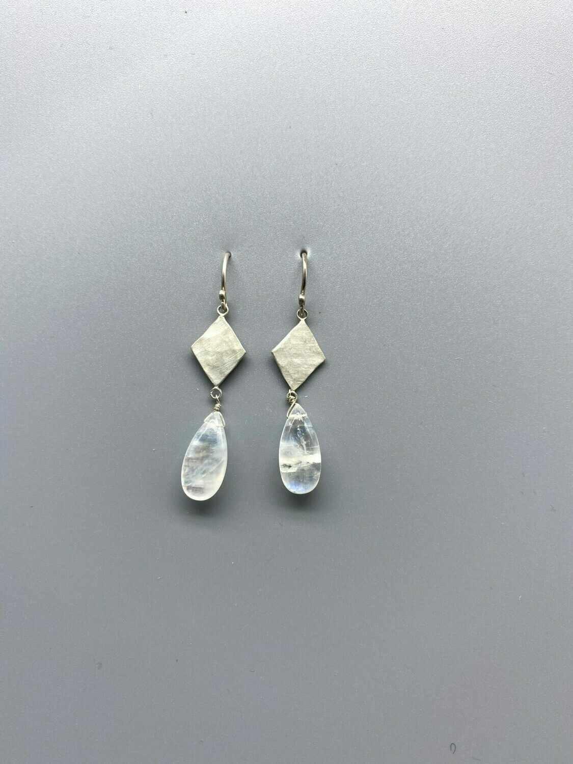 Diamond Shaped Sterling Silver Charm, Moonstone Teardrop Earring - Ananda Khalsa, Northampton MA