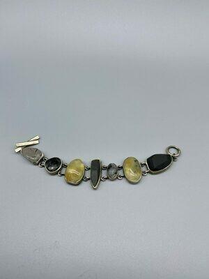 B318-M/SP Bracelet Basalt, Faceted Qtz w/Black Tourmaline, Epidote in Prehnite - Terri Logan - Richmond IN