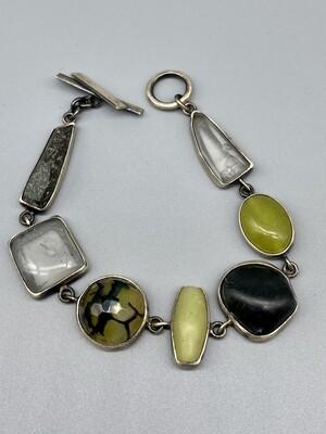 B318- S/SP Bracelet New Jade, Faceted Crackle Agate, Smooth and Rough Quartz, River Stones  - Terri Logan - Richmond IN