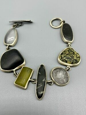 B318- S/SP (24) Multi Stone Bracelet, s/s - Terri Logan - Richmond IN