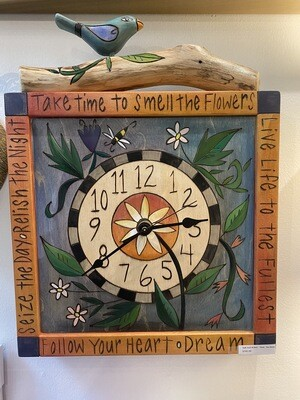 Hand Carved & Painted Clock