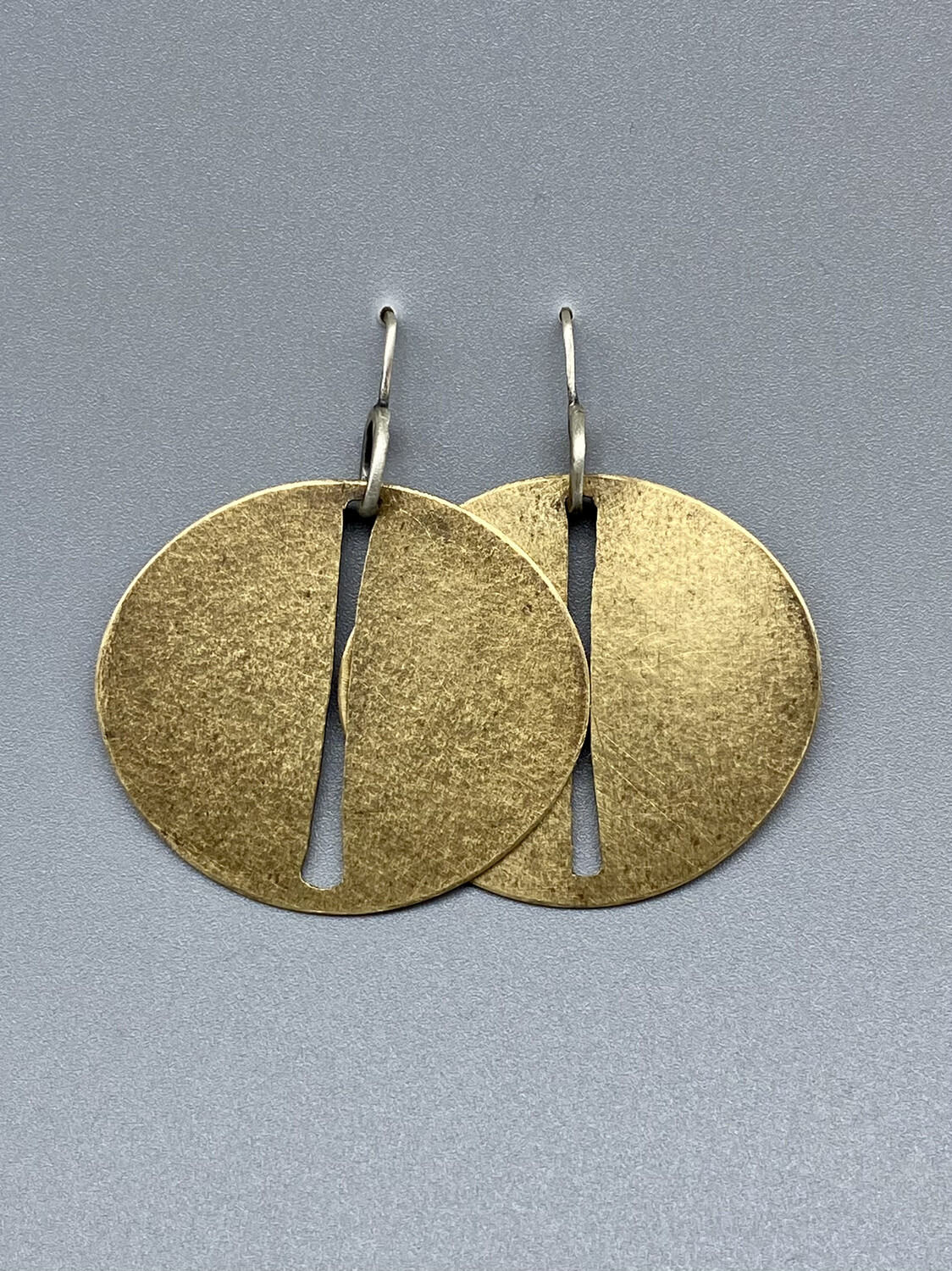 Bronze Oval Slit Discs Earrings