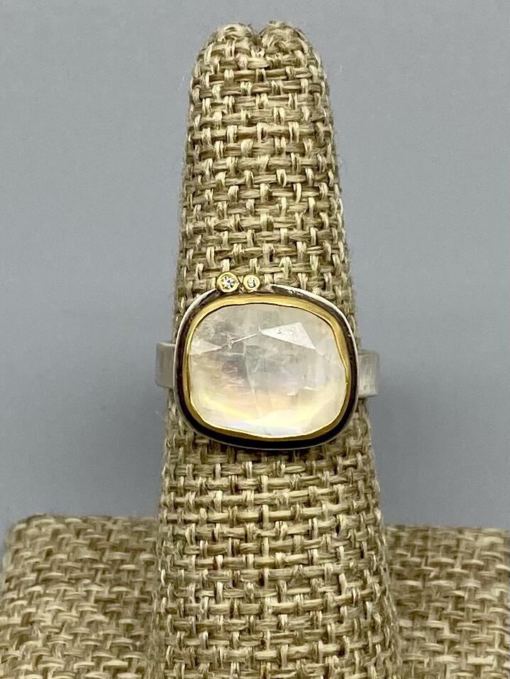 Sz 7 Rose Cut Moonstone Ring, 22k Bezel, Diamond Accents & Sterling Silver Band -   Ananda Khalsa, Northampton MA