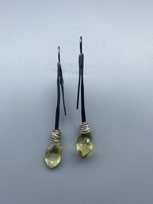 Cushion Cut, Lemon Citrine Sterling Silver Ear Wires