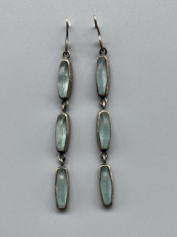 E615-TT Tri-Drop/Bezel on Wire, Faceted Aqua Glass  - Terri Logan - Richmond IN