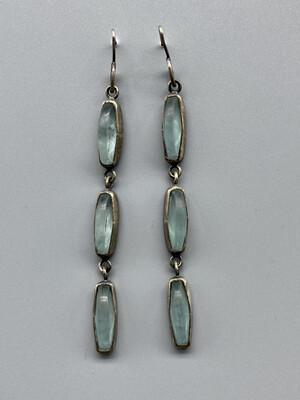 Tri-Drop Faceted Aqua Glass, Sterling Silver