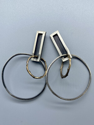 Sterling Silver Hoops w/Brass Accent