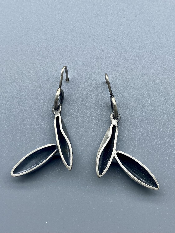 Sterling Silver, Duo Leaf Earrings