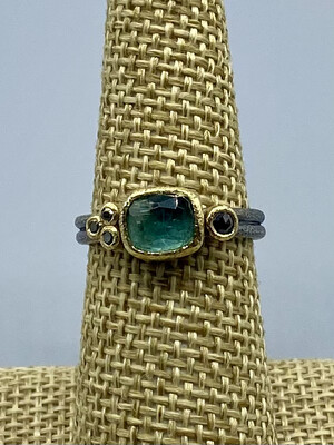 Green Tourmaline with Black Diamonds Ring