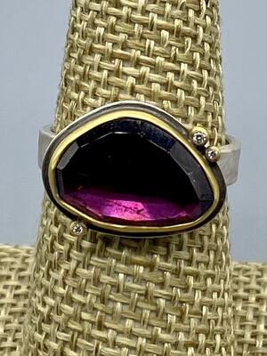 Rose Cut Rhodolite Garnet Ring, 22k Bezel , Diamond Accents & Sterling Silver Band -   Ananda Khalsa, Northampton MA