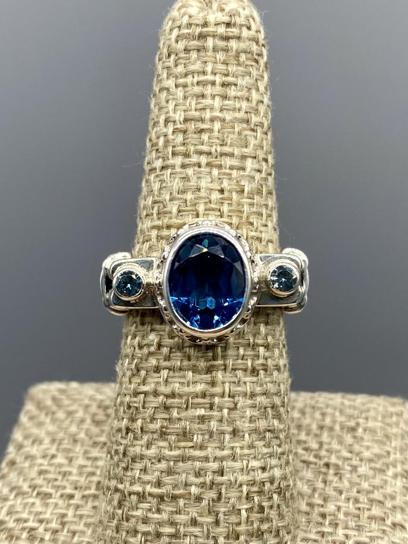 Royal and Aqua Blue Topaz Ring
