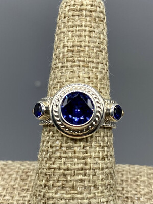 French Blue Topaz Ring, Sterling Silver , 14k Accents, Handmade by Reve - Phoenix AZ