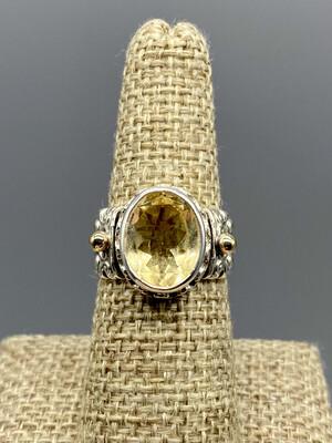 Citrine Ring, s/s & 14k Accents,  Handmade by Reve - Phoenix AZ