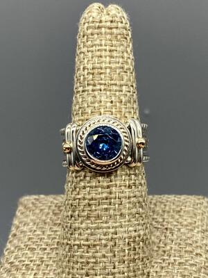 Rainbow Topaz Ring, s/s , 14 K Accents, Handmade by Reve - Phoenix AZ