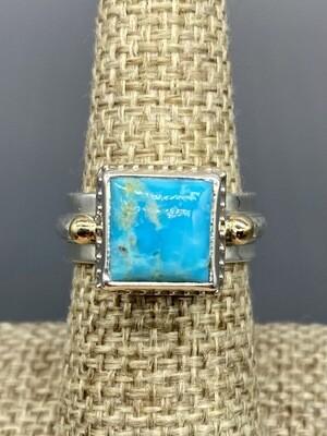Kingman Turquoise Ring, s/s & 14k Accents - Handmade by Reve - Phoenix AZ