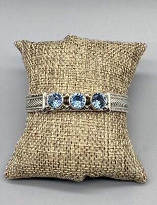 Aqua Blue Topaz s/s Cuff   - Reve - Phoenix AZ