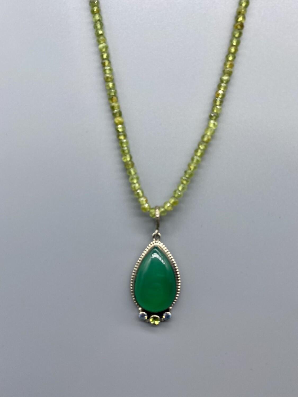 Chalcedony, Blue Topaz on Peridot Strand  Necklace