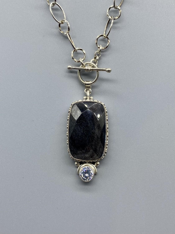Velvet Obsidian, White Topaz Necklace