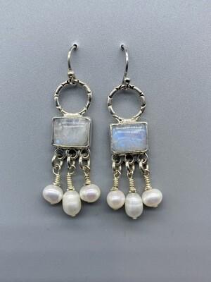 Rainbow Moonstone w/Pearl Drop Earrings
