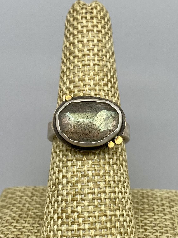 Rosecut Labradorite Ring w/22k Dots, s/s - Ananda Khalsa - Florence MA