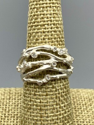 Encrusted 5 Branch Ring w/Diamonds
