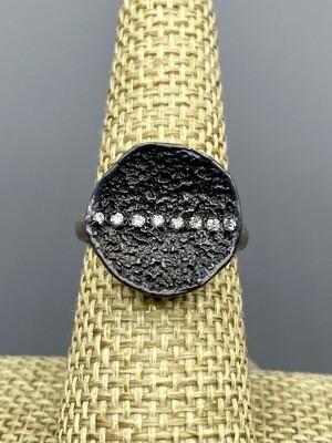Small Lava Stripe Ring s/s Diamonds
