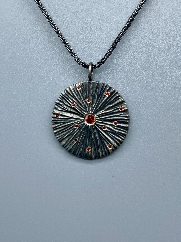 Orange Sapphire Pendant Necklace