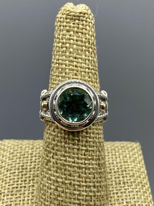 Size 7 Green Quartz Ring, s/s w/14k Accents, Handmade by Reve - Phoenix AZ