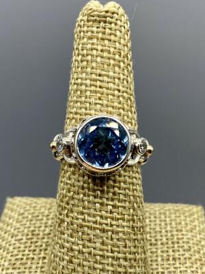 Sz 7 Sky Blue w/White Topaz Sterling Silver Ring, Handmade by Reve, Phoenix,AZ