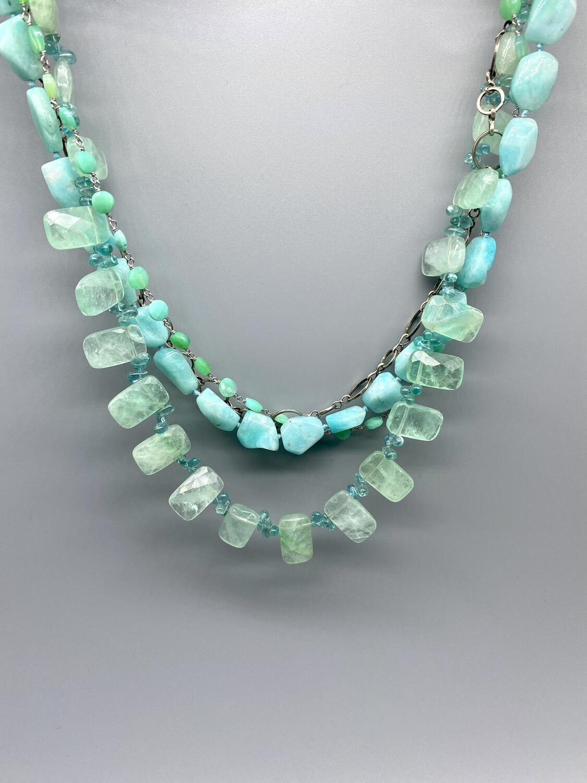 4 Strand Fluorite, Chrysoprase, Amazonite and Apatite Necklace - Margaret Thurman - Sedona , AZ