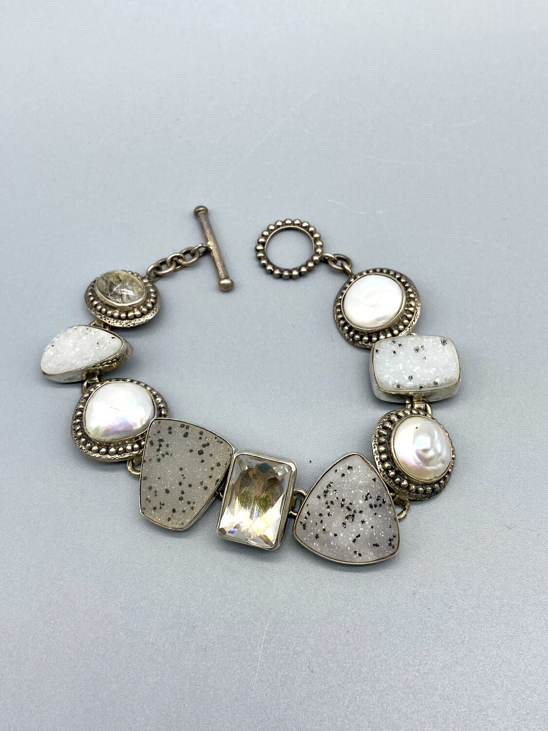 White Druzy, Quartz and Pearl Bracelet