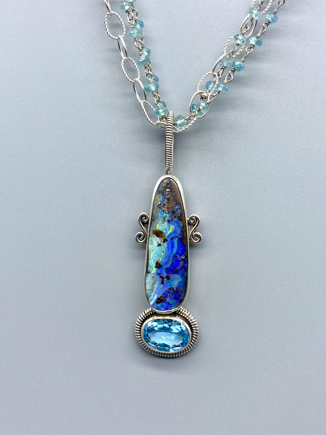 Opal and Blue Topaz Necklace