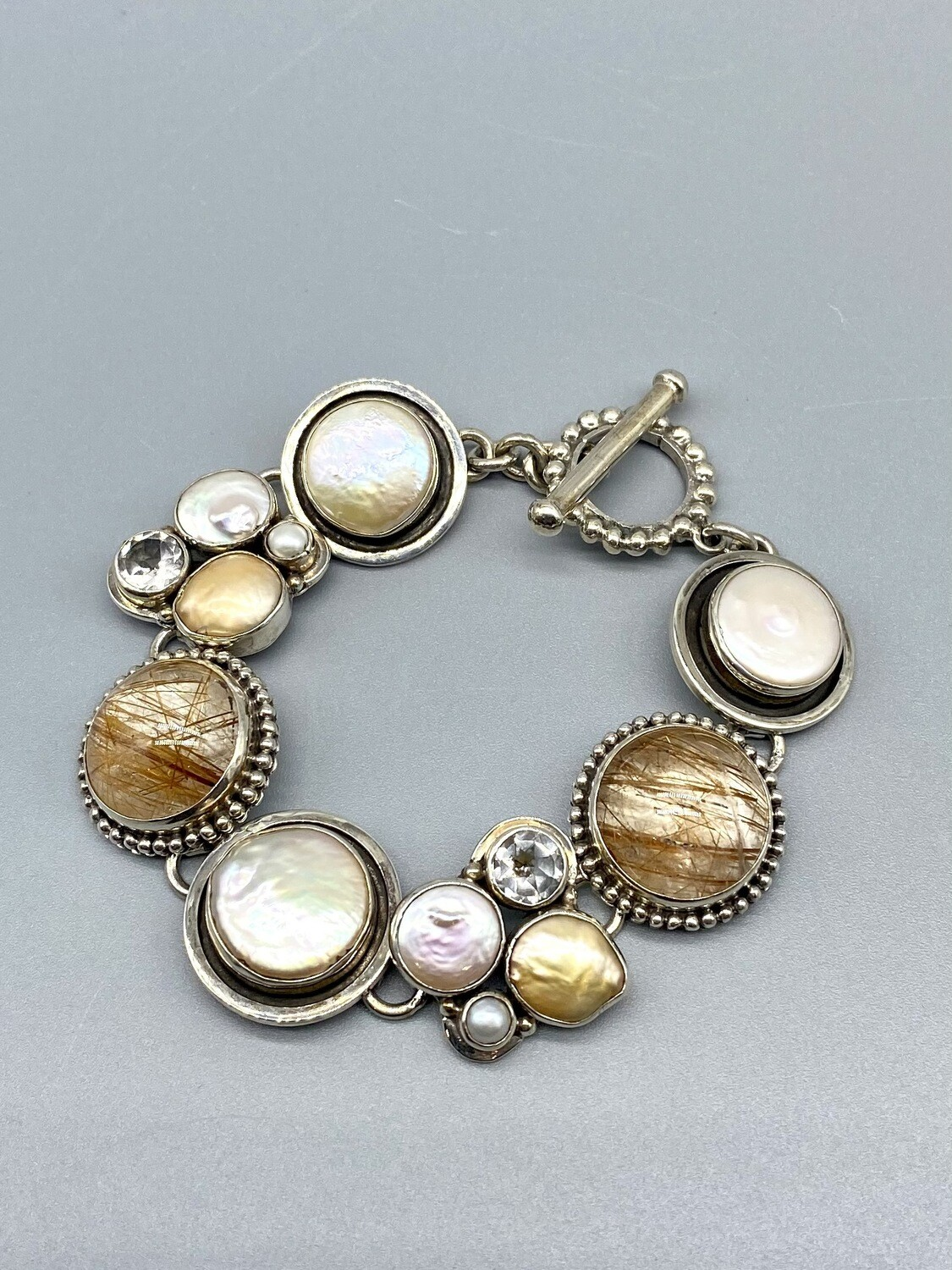 Pearl, Rutilated Quartz and White Topaz Bracelet