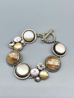 Pearl, Rutilated Quartz, White Topaz SS Bracelet -  Margaret Thurman - Sedona , AZ