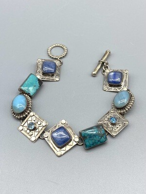 Kyanite, Turquoise and Chalcedony Bracelet