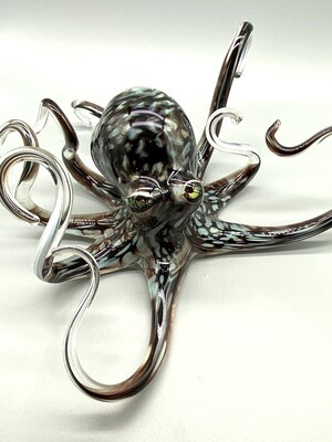 Handblown Aqua Grey Octopus
