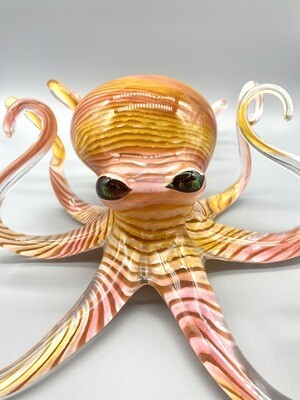 Handblown Peach Octopus