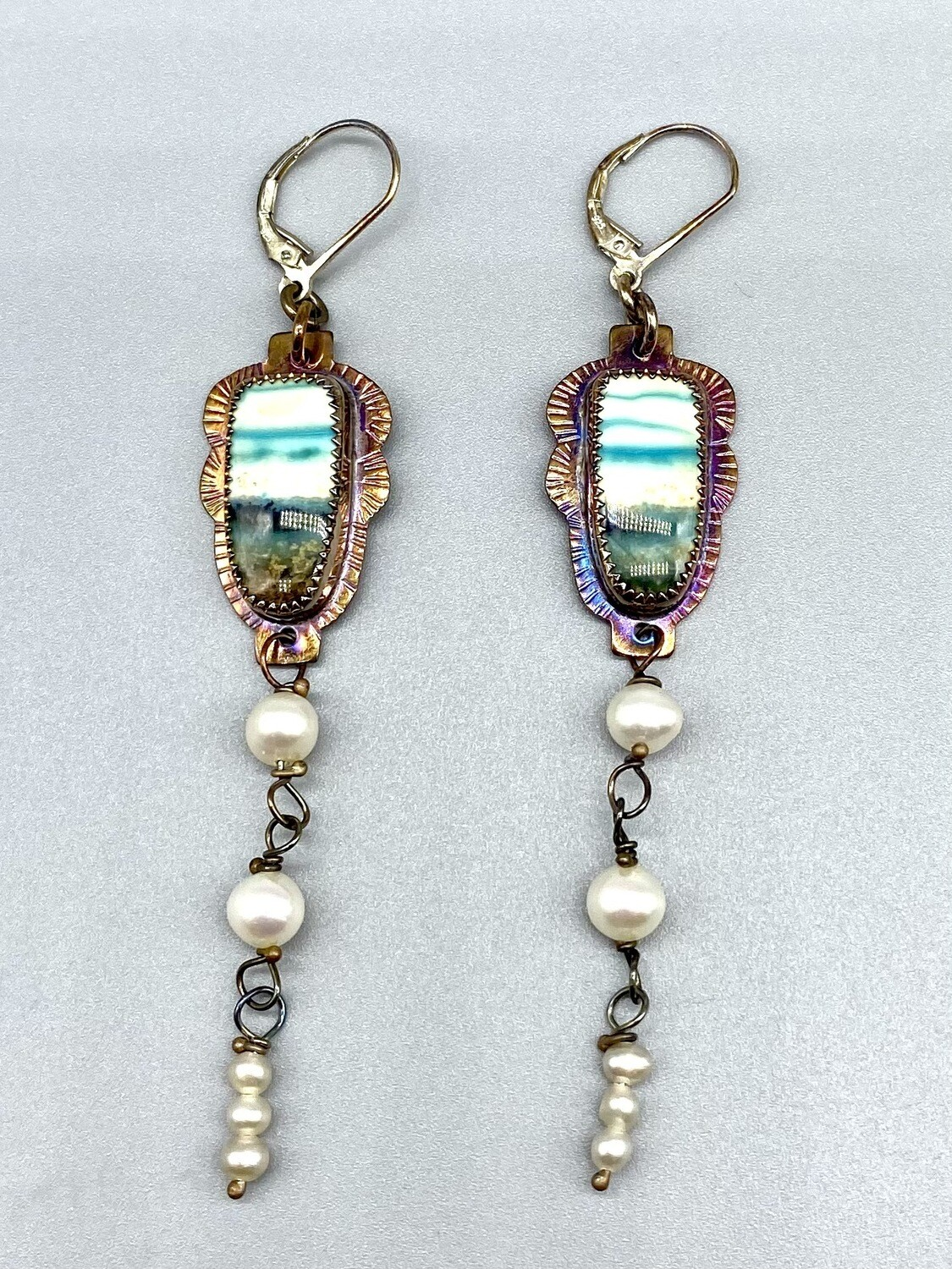 Blue Opal Petrified Wood w/Pearl Dangle Leverback Earrings, Approx 3