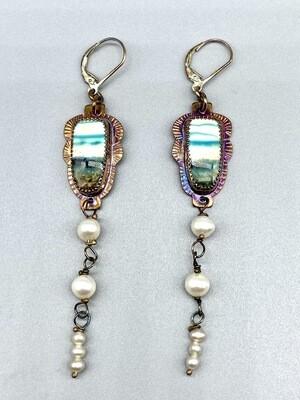 Blue Opal Petrified Wood w/Pearl Dangle Leverback Earrings, Approx 3